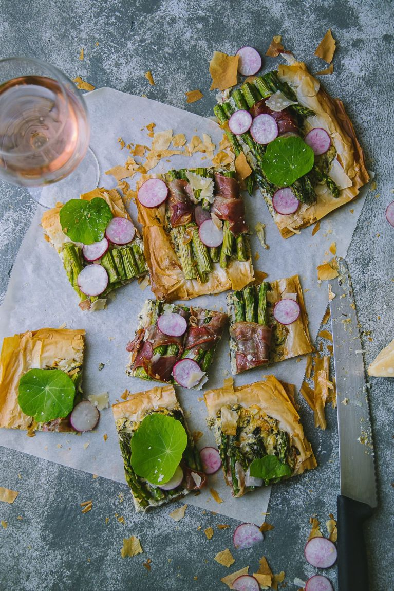 Ingredients for Asparagus Prosciutto Phyllo Tart | Playful Cooking #tart #phyllo #asparagus