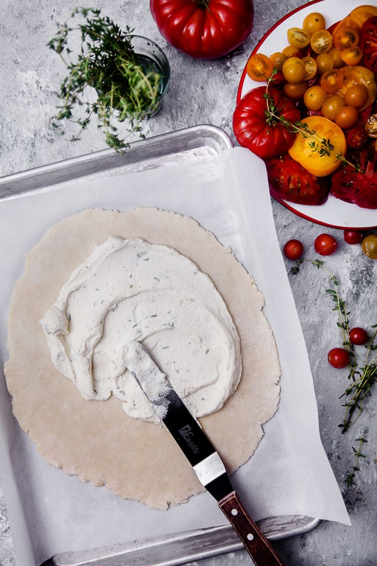 Prepping for a Tomato Thyme Ricotta Galette