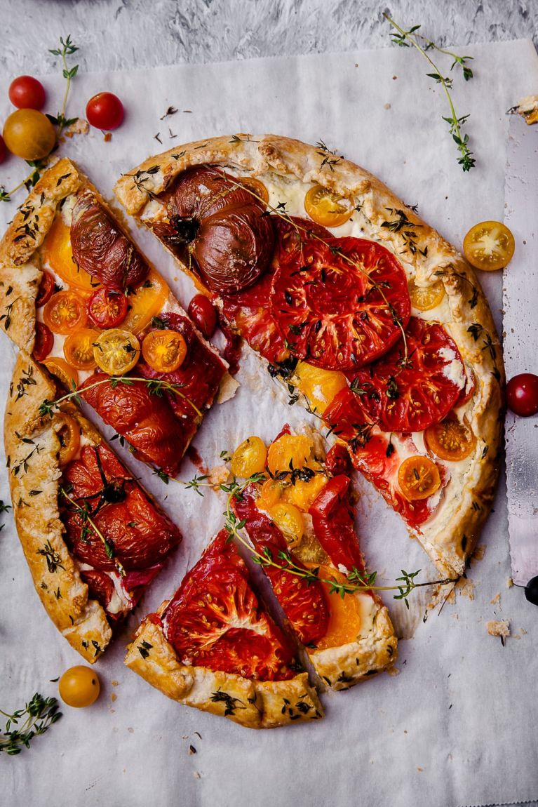 Tomato Thyme Ricotta Galette sliced rustic