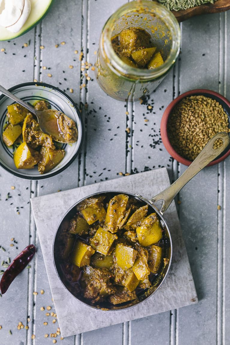 Indian pickle with green mango