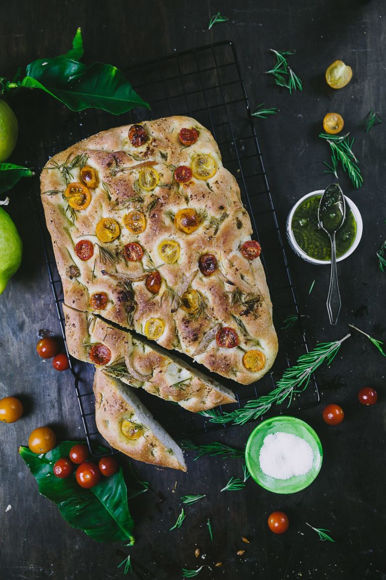 Focaccia Bread Recipe with tomatoes, rosemary and preserved lemons
