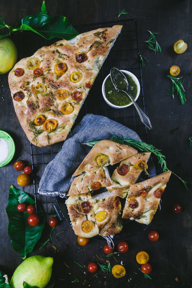 Easy Foccacia Bread Recipe with tomatoes, rosemary and preserved lemons