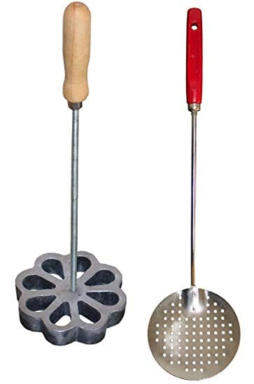Bunuelera Iron Rossette with free Oil spoon, Molde para hacer bunuelos, Bunuelera with Rustic Wooden handle and Cast Aluminum Spanish Rossette shape, Traditional wind fritters mold Bundle