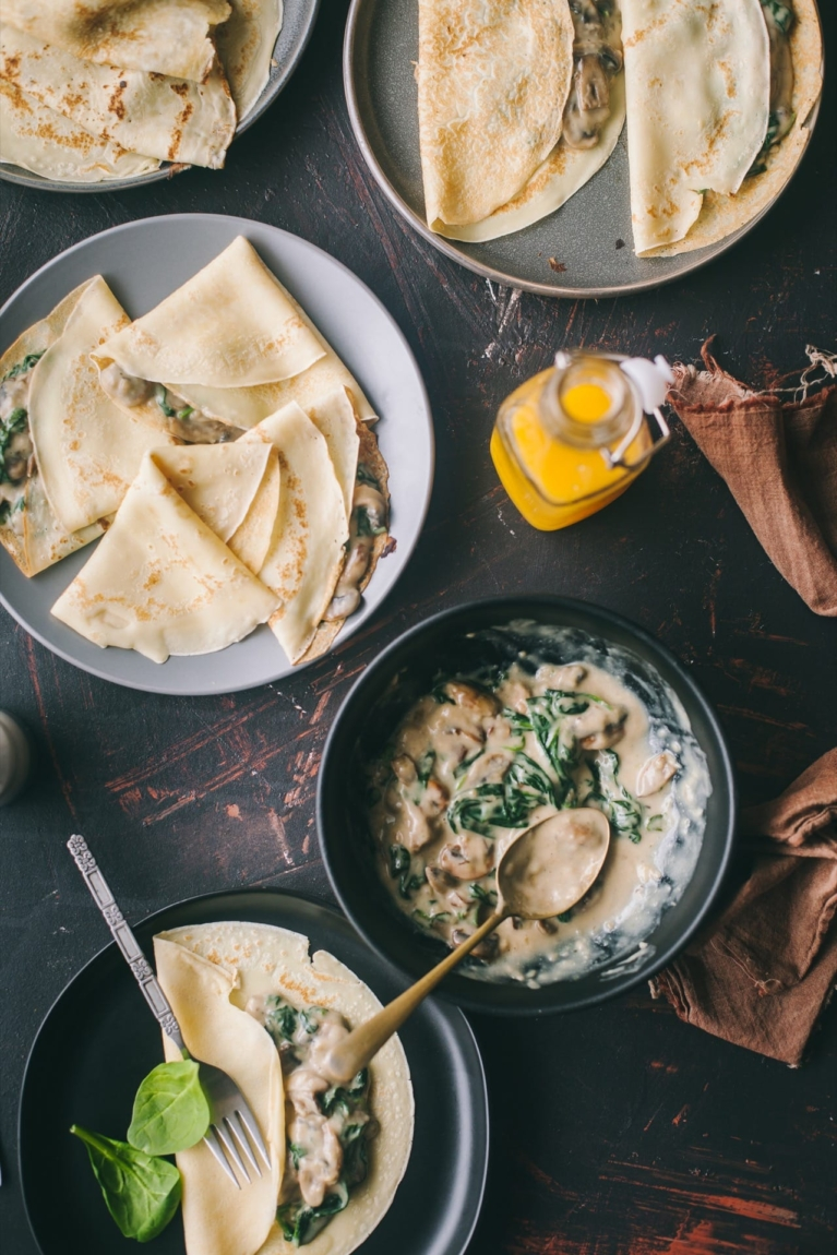 Mushroom And Spinach Crepes 2