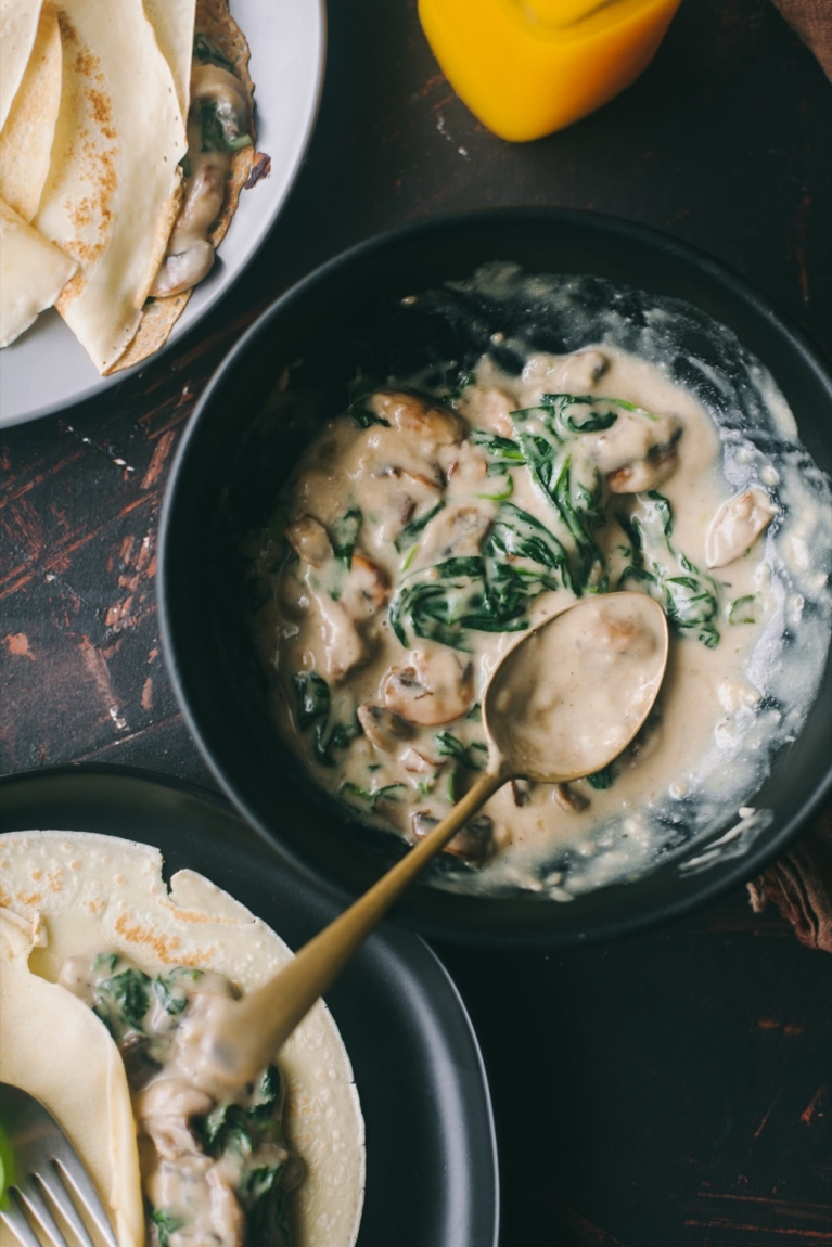 Mushroom And Spinach Crepes 5