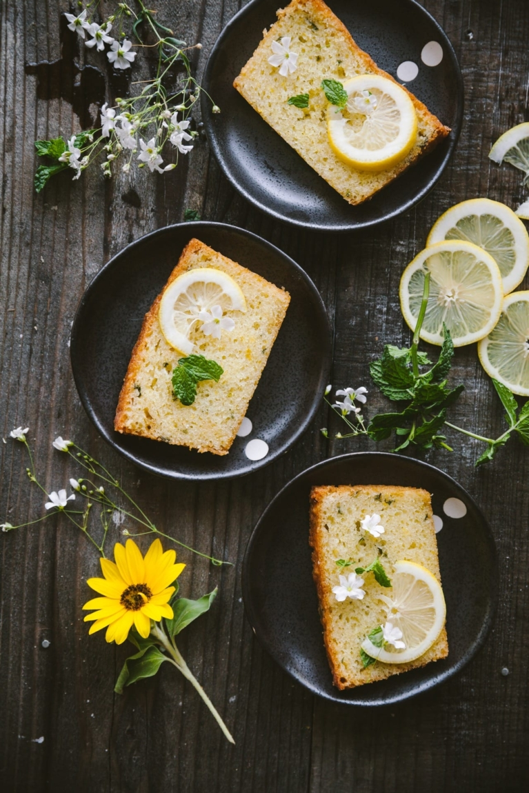 Three plates of Lemon Mint Cake slices