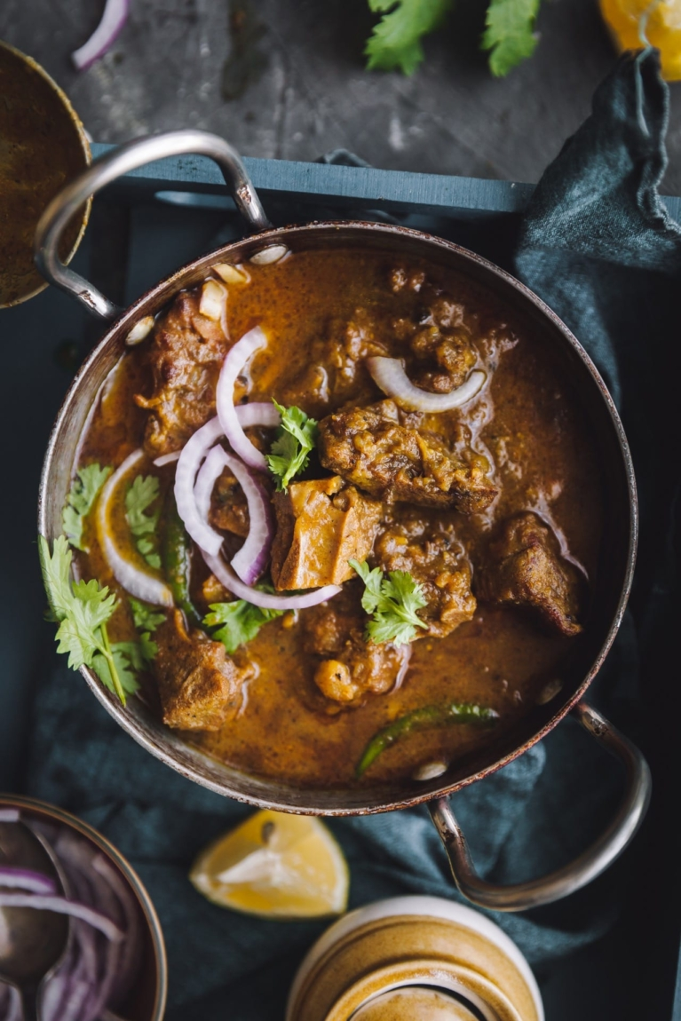 Close up view of Indian meat curry