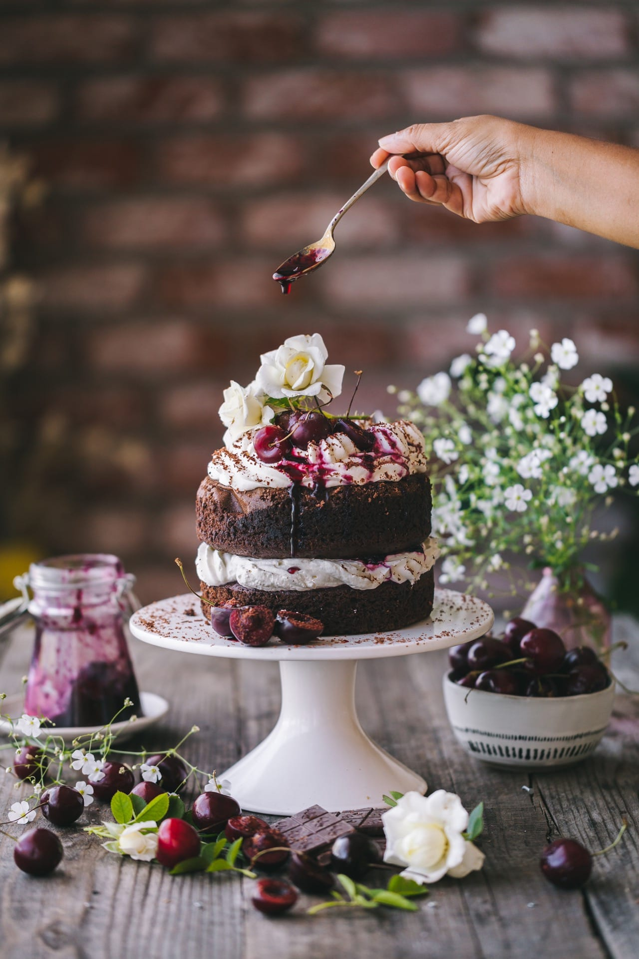 Food Photography of Chocolate Cherry Cake!