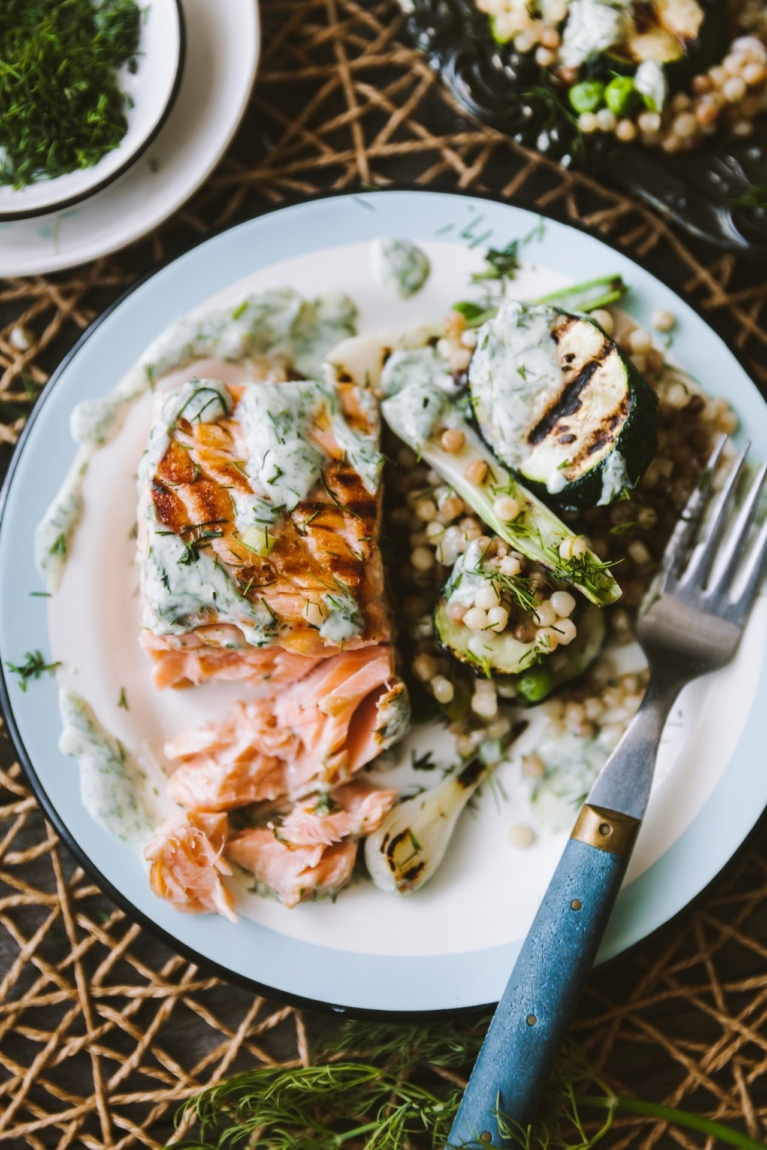 Summer grilled seafood and veggies