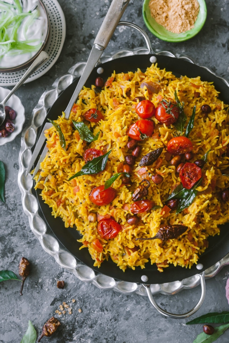 South Indian Style Rice dish with tomatoes