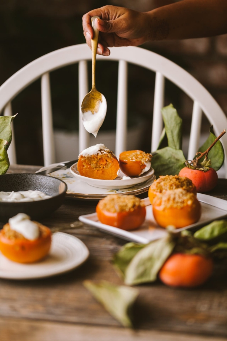 Baked Persimmon Crisp   Easy breakfast that can be made in advance