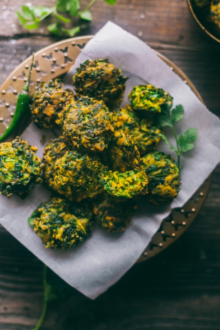 Cilantro Fritters / Dhone pata bora | Playful Cooking