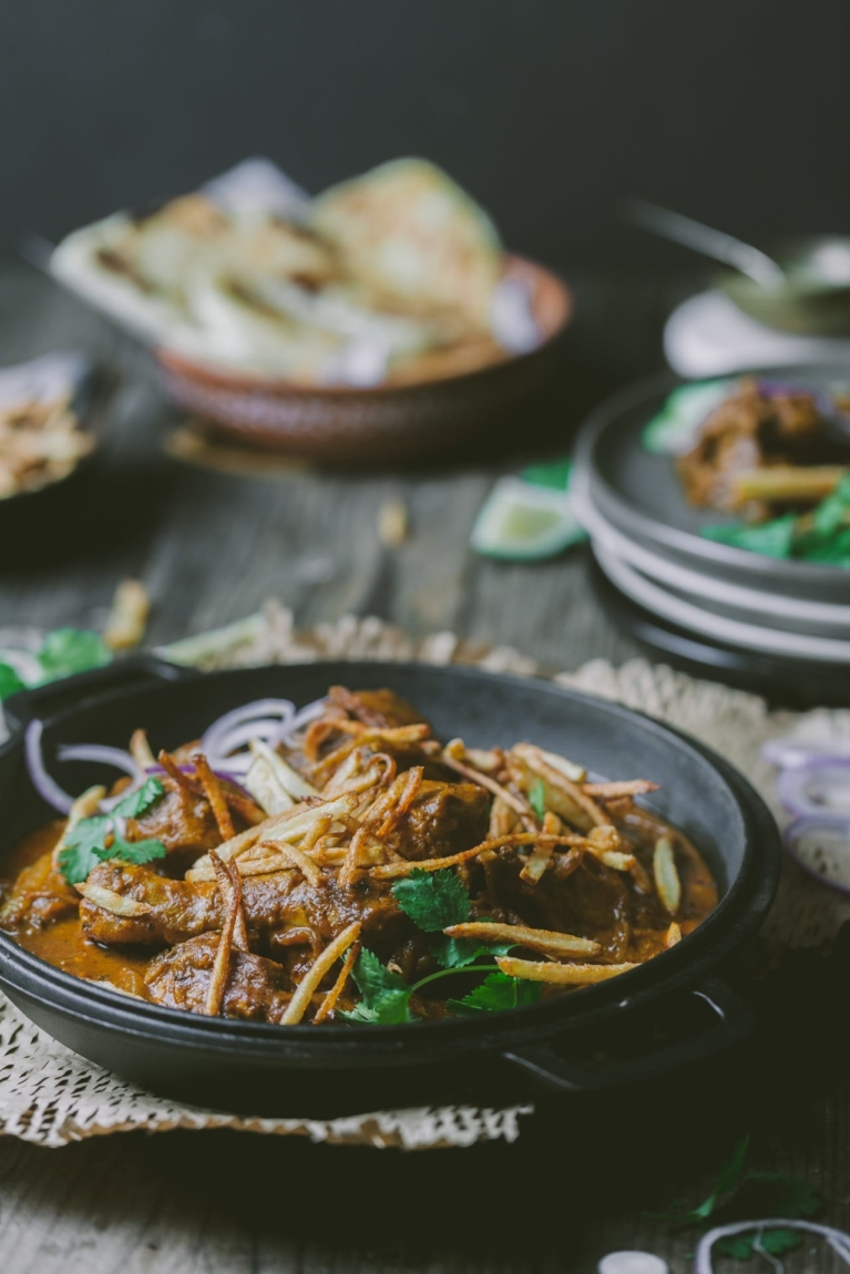 Parsi Style Chicken Curry with fried potatoes