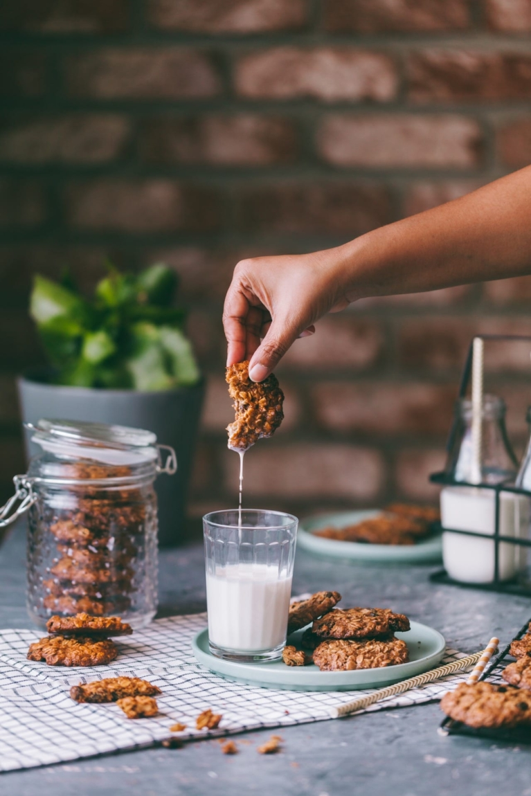 Dipping Cookies in a glass of milk