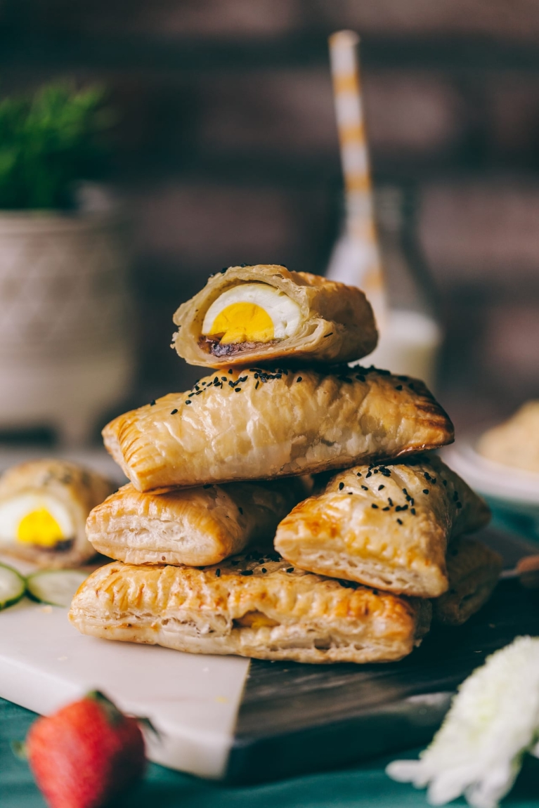 Egg Puffs - Indian Snack with eggs in puff pastry