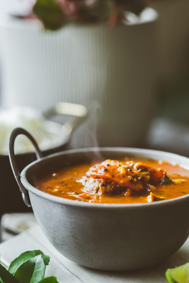 South Indian Spiced Tomato and Pear soup