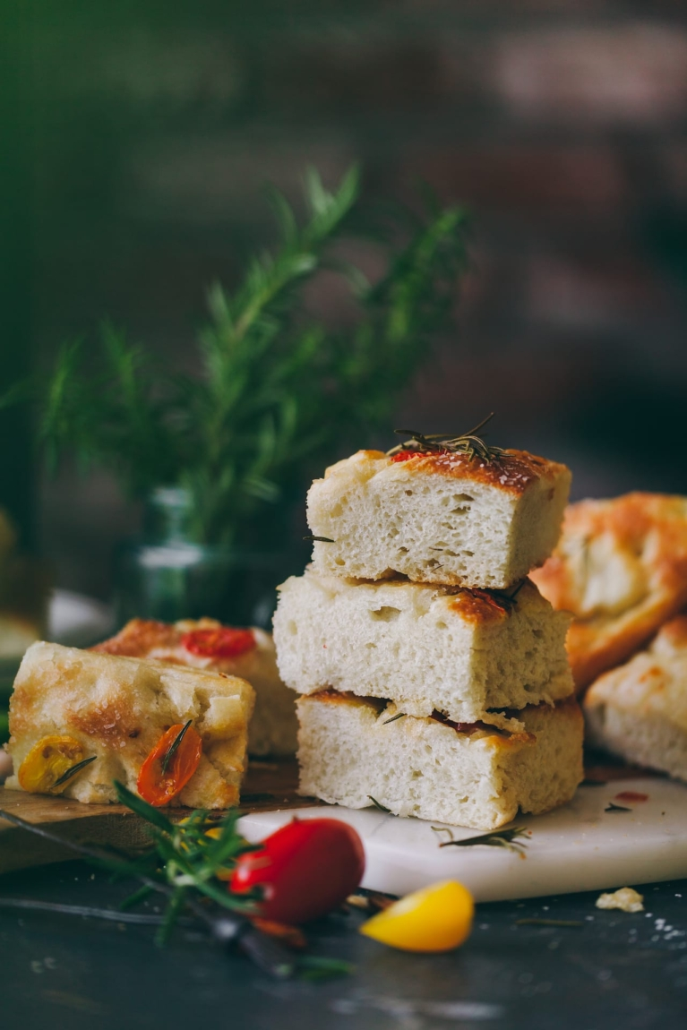Easy Focaccia Bread with rosemary tomatoes