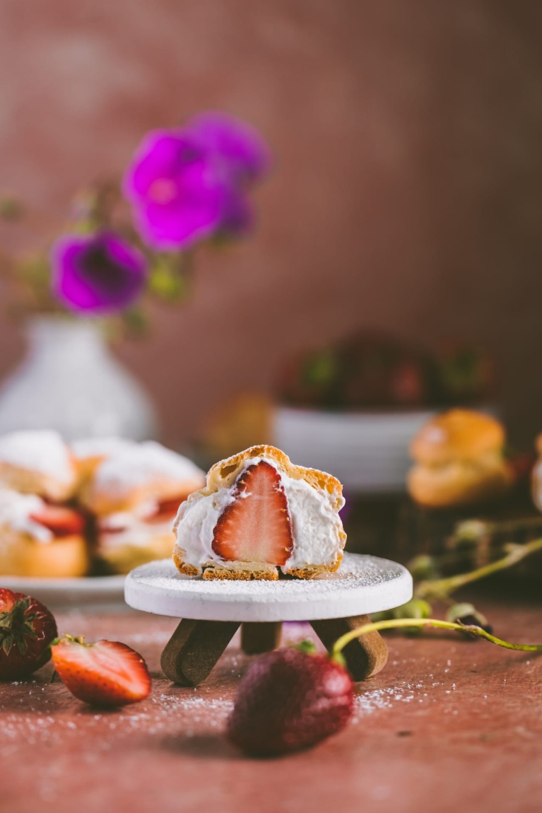 Choux Pastry with mascarpone cheese and strawberries