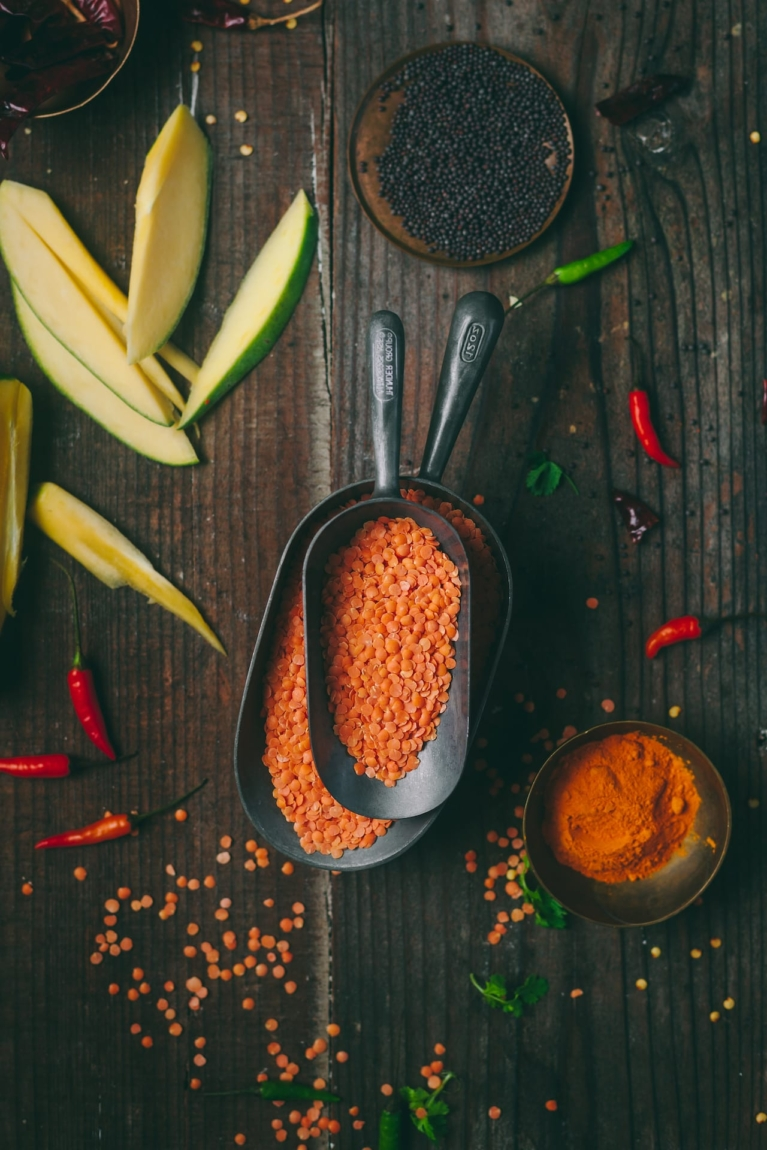 Food Photography of Red Lentil