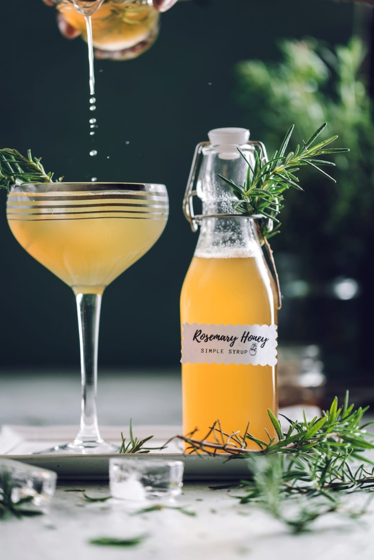 Gin cocktail with rosemary honey syrup